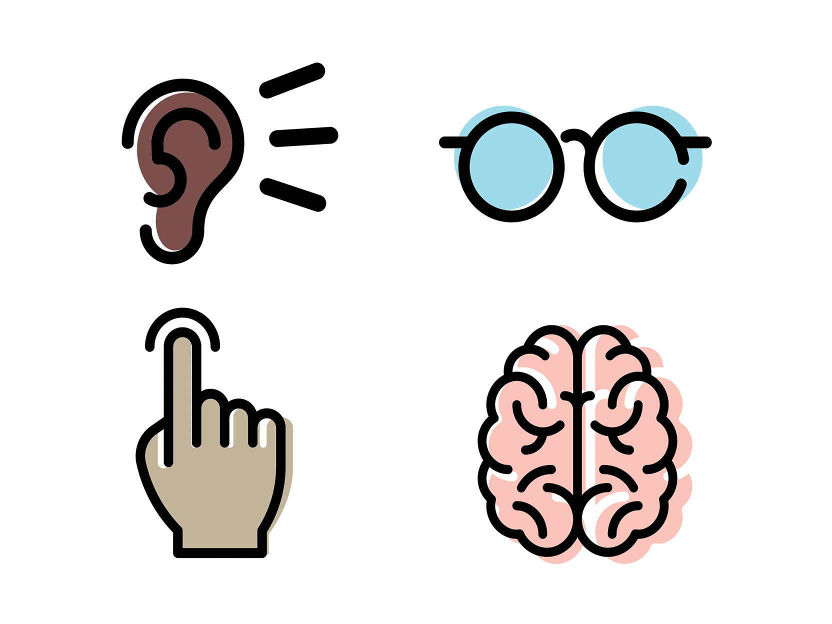 Graphic Icons Depicting Visual, Cognitive, Motor Skill and Audiory Aspects of Accessible Design