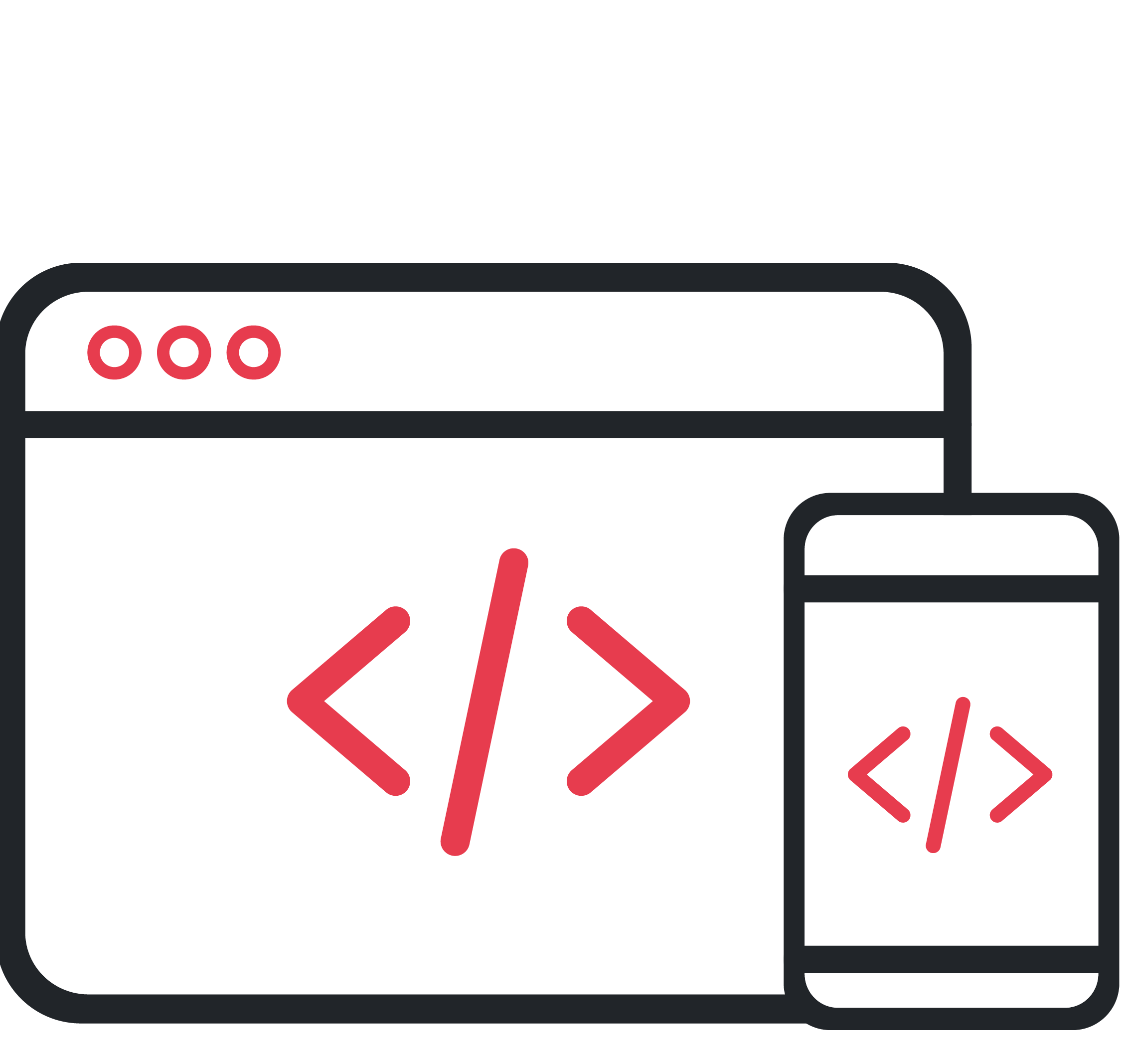 Graphic Icon Depicting Front-End Coding Activities